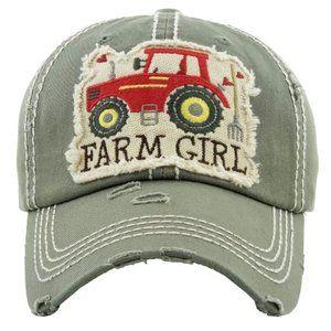 Farm Girl Moss Distressed Adjustable Baseball Hat